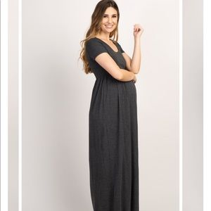 Pinkblush Charcoal Solid Short Sleeve Maxi Dress